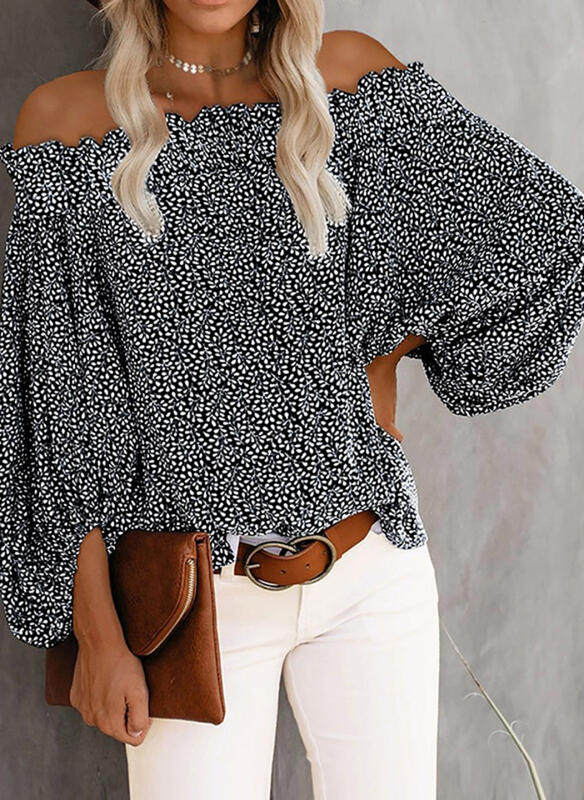 Print Off the Shoulder Long Sleeves Lantern Sleeve Casual Blouses