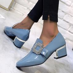 Women's PU Chunky Heel Pumps Low Top With Rhinestone shoes