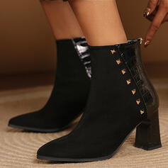Women's Suede PU Chunky Heel Mid-Calf Boots With Rivet Zipper shoes