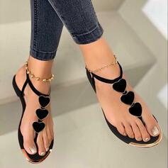 Women's PU Flat Heel Sandals Flip-Flops With Applique Buckle shoes