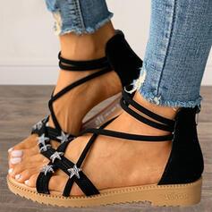 Women's PU Flat Heel Sandals With Zipper Hollow-out shoes