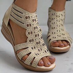 Women's PU Wedge Heel Sandals With Rhinestone Zipper Hollow-out shoes