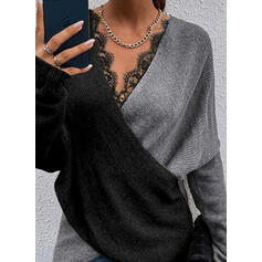 Color Block Lace V-Neck Sweaters