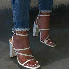 Women's PU Chunky Heel Sandals With Buckle Solid Color shoes