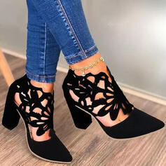 Women's PU Chunky Heel Pumps Low Top With Hollow-out shoes