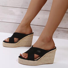 Women's PU Wedge Heel Sandals Slippers With Hollow-out Solid Color shoes