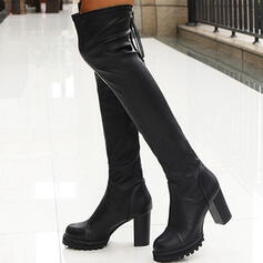 Women's PU Chunky Heel Over The Knee Boots With Zipper Solid Color shoes