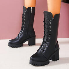 Women's PU Chunky Heel Boots With Zipper Lace-up Solid Color shoes