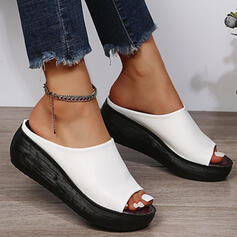 Women's PU Wedge Heel Sandals Slippers With Solid Color shoes