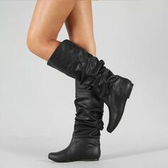 Women's PU Low Heel Mid-Calf Boots With Ruched shoes