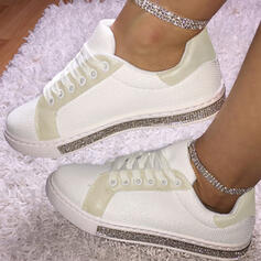 Women's PU Sneakers With Rhinestone Lace-up shoes
