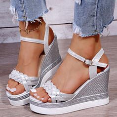 Women's PU Wedge Heel Sandals With Buckle Braided Strap Solid Color shoes