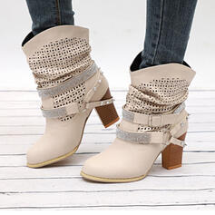 Women's PU Chunky Heel Boots With Rhinestone Rivet Buckle shoes