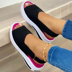 Women's Suede Wedge Heel Sandals With Velcro Letter Colorblock shoes