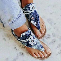 Women's PU Flat Heel Sandals Flip-Flops With Animal Print Floral Print shoes