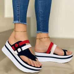 Women's PU Wedge Heel Sandals Slippers Toe Ring With Buckle Hollow-out Splice Color shoes