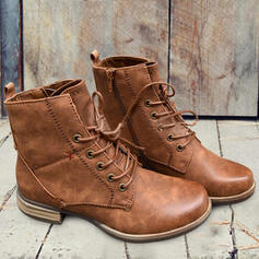 Women's PU Chunky Heel Boots Martin Boots With Lace-up Solid Color shoes