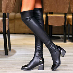 Women's PU Chunky Heel Boots With Ruched Solid Color shoes
