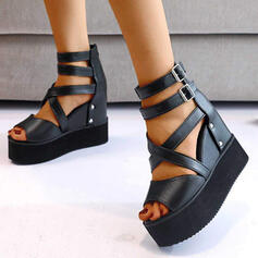 Women's PU Wedge Heel Sandals With Buckle Solid Color Crisscross shoes