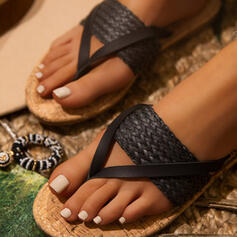 Women's PU Low Heel Sandals Flip-Flops Slippers With Braided Strap Split Joint Solid Color shoes