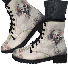 Women's PU Low Heel Boots With Embroidery shoes