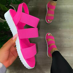 Women's PU Wedge Heel Sandals With Hollow-out Elastic Band Solid Color shoes