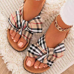 Women's Cloth Flat Heel Sandals Slippers With Bowknot Splice Color Striped shoes