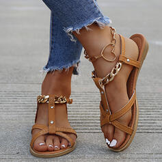 Women's PU Flat Heel Sandals With Buckle Chain Hollow-out shoes