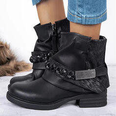 Women's PU Chunky Heel Martin Boots With Sequin Ruched Chain Velcro Solid Color shoes