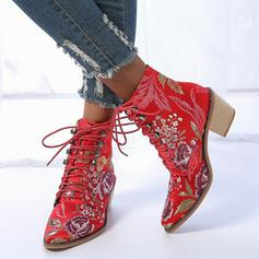 Women's PU Chunky Heel Boots With Sequin Lace-up Floral Print shoes