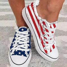 Women's Canvas Flat Heel Flats Espadrille With Lace-up Splice Color Stripe shoes