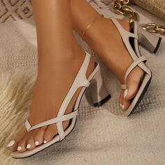 Women's PU Chunky Heel Sandals Flip-Flops With Solid Color shoes