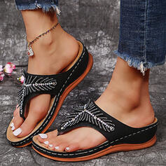 Women's PU Wedge Heel Sandals Flip-Flops Slippers With Rhinestone Solid Color shoes