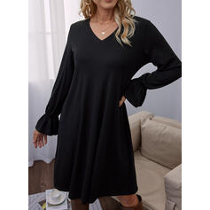 Solid Long Sleeves Flare Sleeve Shift Above Knee Little Black/Casual Tunic Dresses