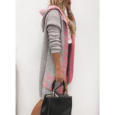 Print Color Block Pocket Hooded Casual Long Cardigan