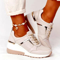 Women's PU Flat Heel Flats Sneakers With Lace-up Splice Color shoes