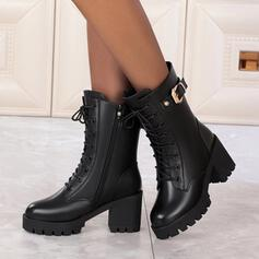 Women's PU Cone Heel Boots With Buckle Zipper Lace-up Solid Color shoes