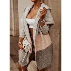 Print Color Block Hooded Casual Long Cardigan