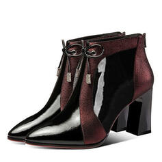 Women's PU Chunky Heel Boots With Rhinestone Bowknot Zipper Splice Color shoes
