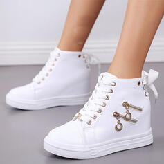 Women's PU Flat Heel Ankle Boots With Zipper Lace-up Solid Color shoes