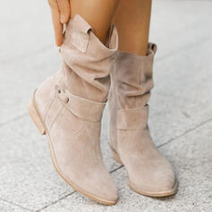 Women's Suede Chunky Heel Boots With Buckle Zipper Solid Color shoes
