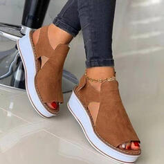 Women's Suede Wedge Heel Sandals With Hollow-out Velcro Solid Color shoes