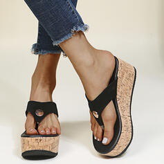 Women's PU Wedge Heel Sandals Flip-Flops Slippers With Solid Color shoes