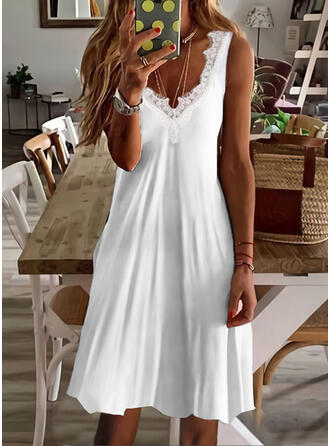 Solid Lace Sleeveless Shift Above Knee Casual/Vacation Dresses