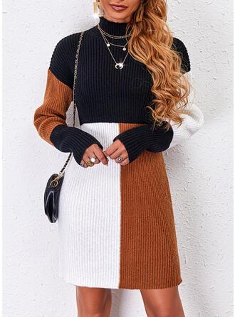 Print Color Block High Neck Casual Sweater Dress