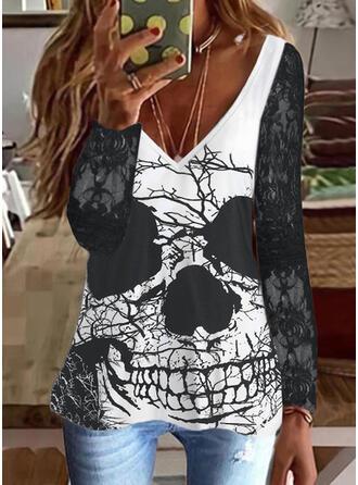 Halloween Print V-Neck Long Sleeves T-shirts