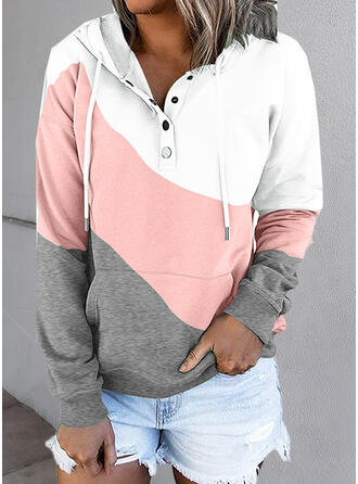 Color Block Hooded Long Sleeves Hoodie