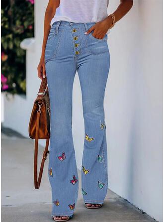 Butterfly Denim Long Casual Denim & Jeans