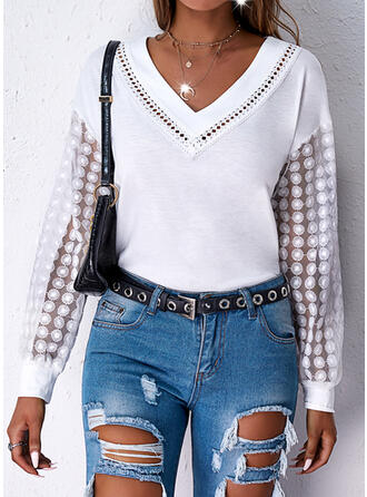Solid Lace V-Neck Long Sleeves Dropped Shoulder Casual Blouses