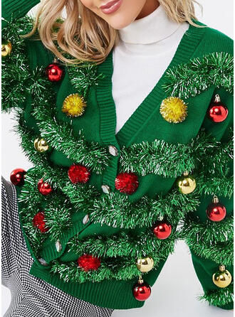 Women's Polyester Plain Ugly Christmas Sweater